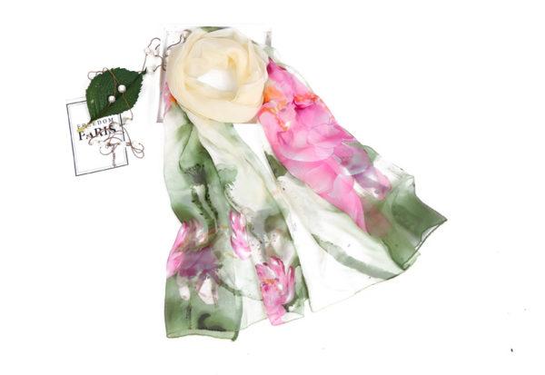 9f0e1f23f08e Lilla georgette zöld virág mintás női kendő – Női divat webáruház!